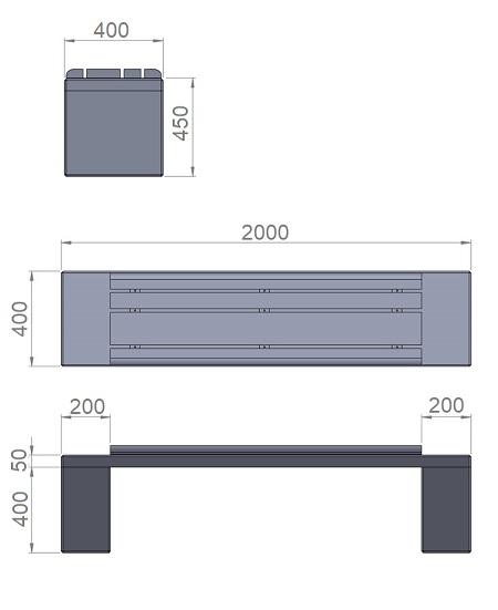 17. Комплект стеклопластиковых форм опорного блока и плиты скамьи Ск17