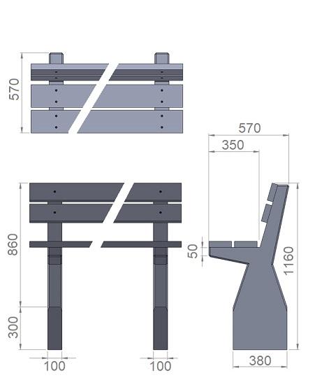 21. Стеклопластиковая форма опорного блока дворовой скамьи со спинкой