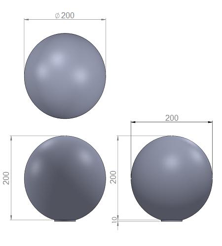 3. Стеклопластиковая форма шара 200