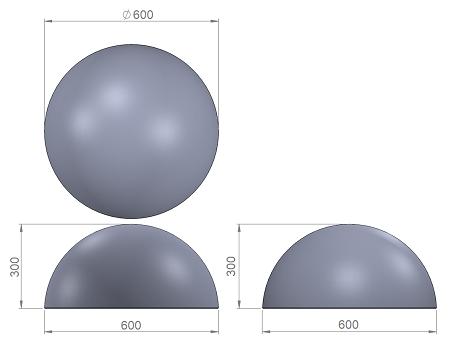 3. Стеклопластиковая форма бетонной полусферы