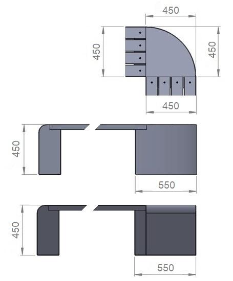 5. Стеклопластиковая форма опорного блока скамьи/угловой модуль Ск5