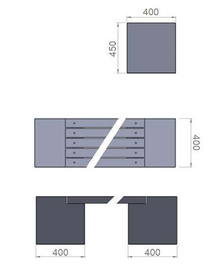 6. Стеклопластиковая форма опорного блока скамьи Ск6
