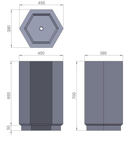 15. Стеклопластиковая форма вазона В15