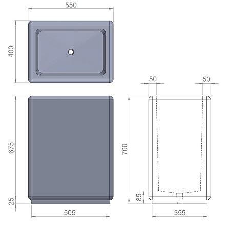 38. Стеклопластиковая форма вазона В38
