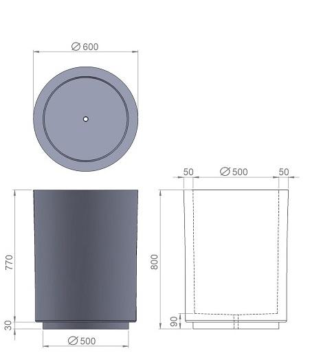 24. Стеклопластиковая форма вазона В24
