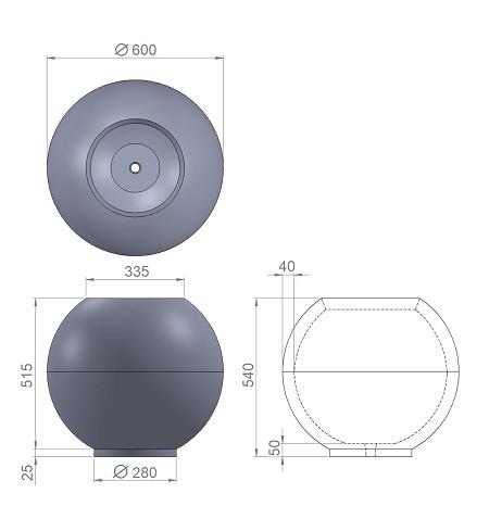 12. Стеклопластиковая форма вазона В12